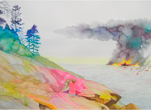 "Erika Somogyi, Rock In The Sea, 2005, 22"" x 30"""