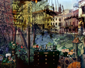 View of Volta Del Canal in Palazzo Room Painted With Jungle Motif, Venice, Italy , 2008